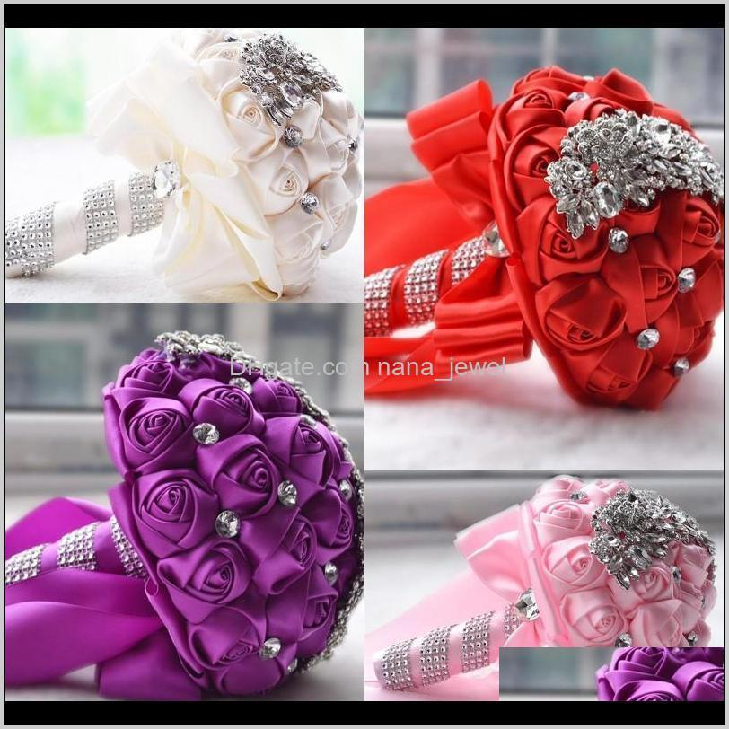 Pins, Brooches Jewelry Drop Delivery 2021 Crystal Brooch Bouquet Accessories Bridesmaid Artifical Satin Wedding Flowers Bridal Bouquets Jov0Y