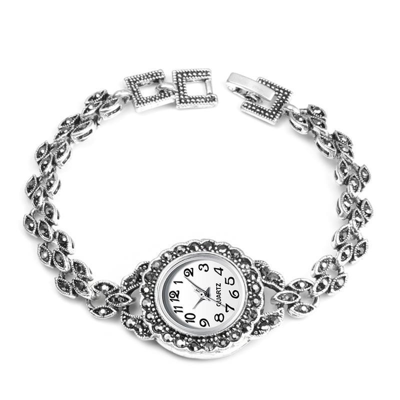 Wristwatches QINGXIYA Exquisite Design Antique Silver Bracelets Watch For Women Quartz Watches Retro Look Montre Femme