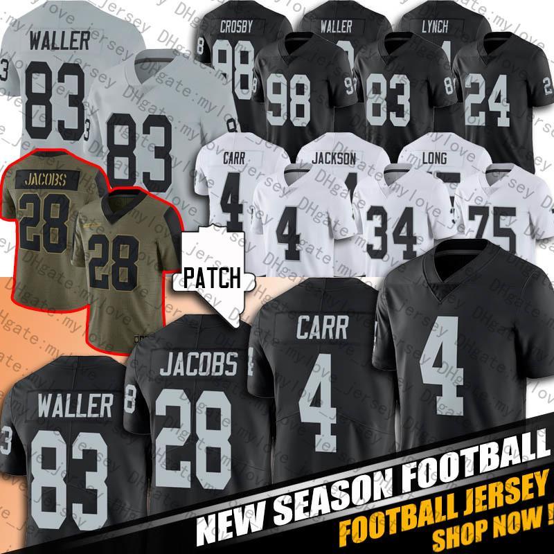 "28 Josh Jacob 83 Darren Waller Derek Carr Henry Ruggs III Football Jerseys Hunter Renfrow Bo Jackson Ken Stabler Maxx Crosby Las Vegas ""Raiders"" 96 Clelin Ferrell"