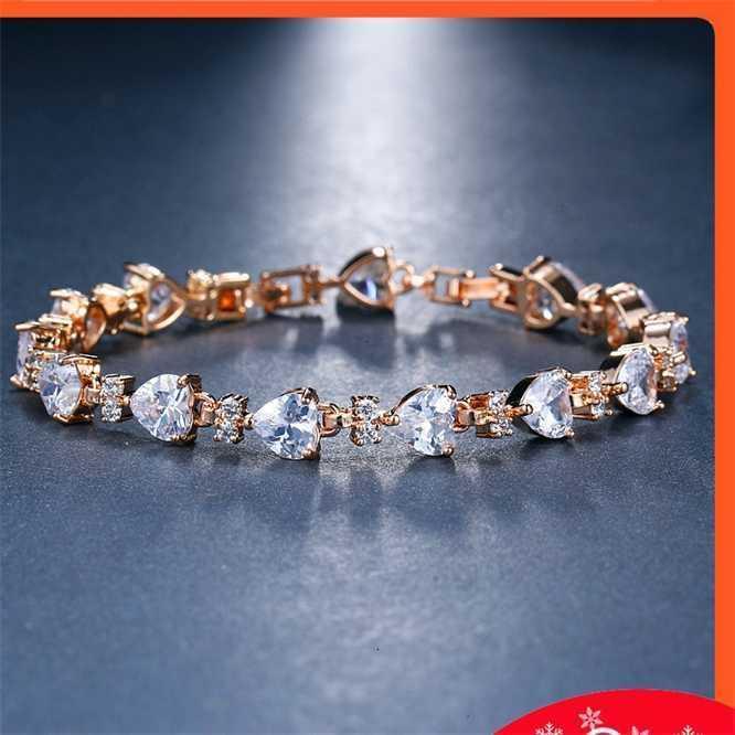 Decoração de mão moda zircon pêssego coração cristal zircônio incrustado pulseira de diamante