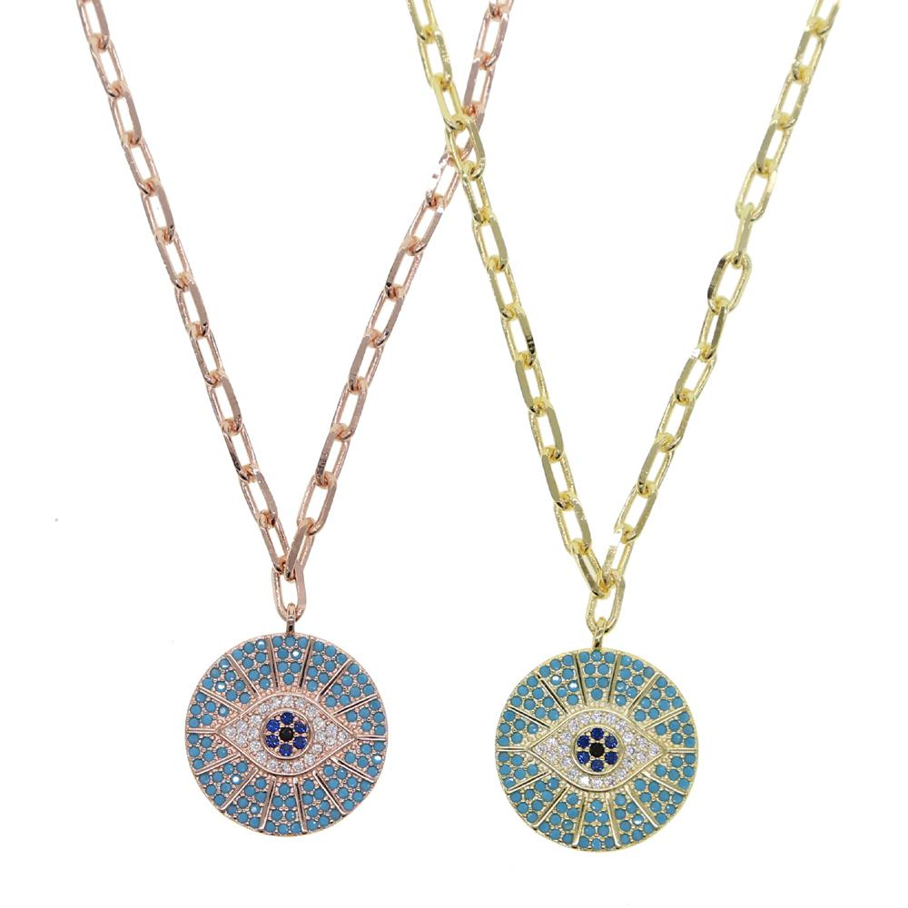 Rose Color Turkish Round Evil Eye Pendant Woman Micro Pave CZ Blue Zircon Gold Chain Necklace Best Gift for Female