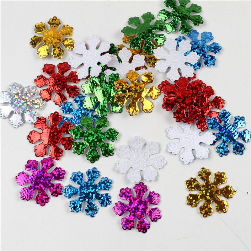 30mm Christmas Snowflake Felt Padded Appliques for Headwear Hairpin Crafts Wedding Decoration DIY Accessories Wholesale BWF6318
