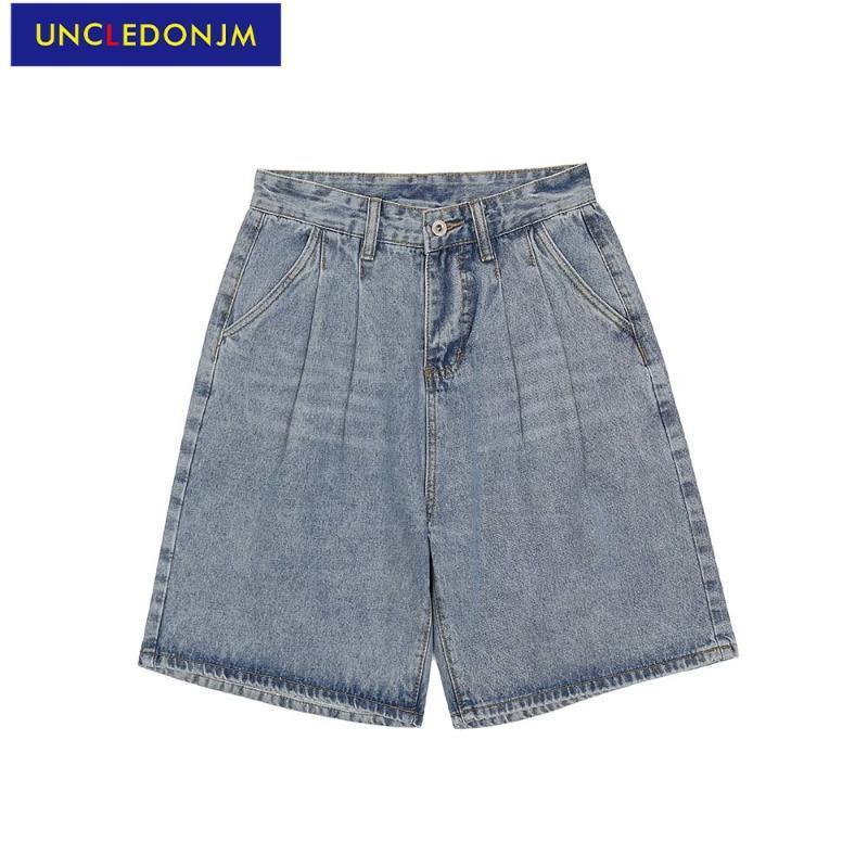 Jeans masculinos designer de homens para calções coreanas hip hop retro calças soltas denim empilhado ue017