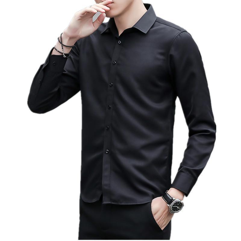 패션 남자 셔츠 성격 망 캐주얼 슬림 긴팔 셔츠 탑 블라우스 블루 블랙 백인 남성 스타일 사무실면