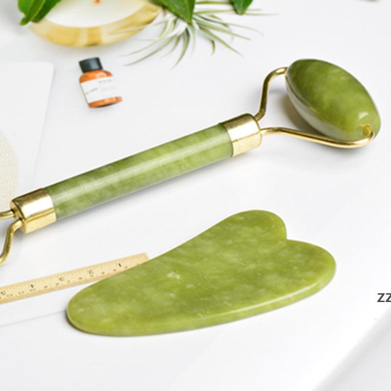 2 STÜCKE Set Natürliche Jade Massage Roller Guasha Board Künste und Handwerk SPA Schaber Stein Gesicht Anti-Falten Behandlung HWE8180