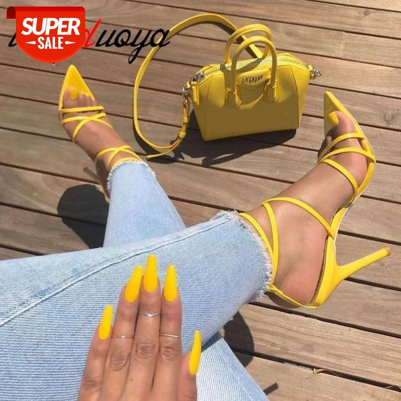 Sexy Yellow sandals Ladies Summer New Pointed Fish Mouth Cross Stilettos Sharp Point Toe 11.5cm Stiletto heel #0G5j