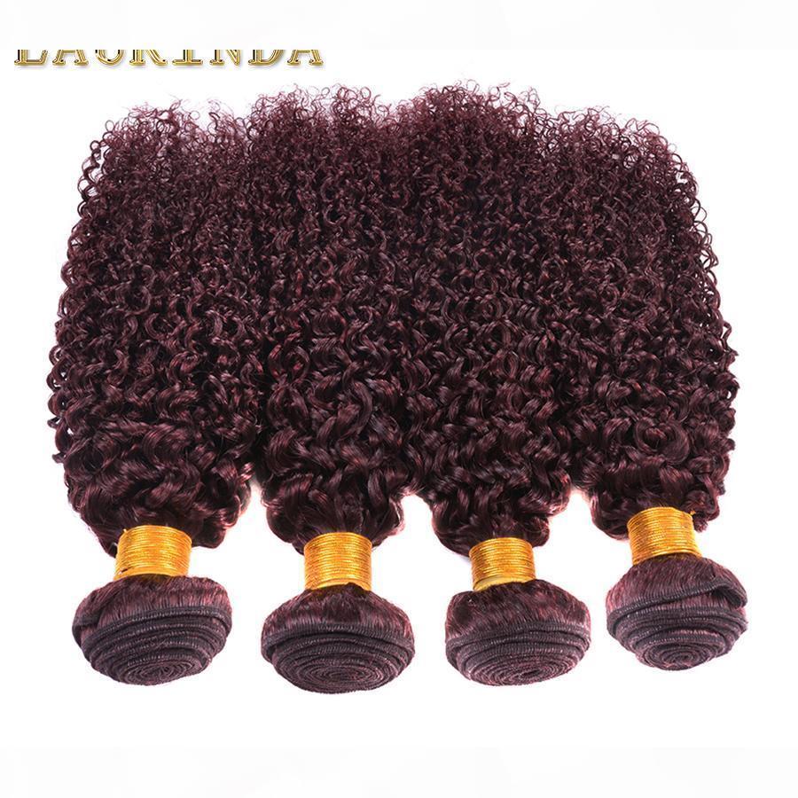 새로운 스타일 곱슬 직조 99J 브라질 말레이시아 페루 몽골어 곱슬 버진 머리카락 4pcs 로트 최고 학년 와인 레드 99j 머리
