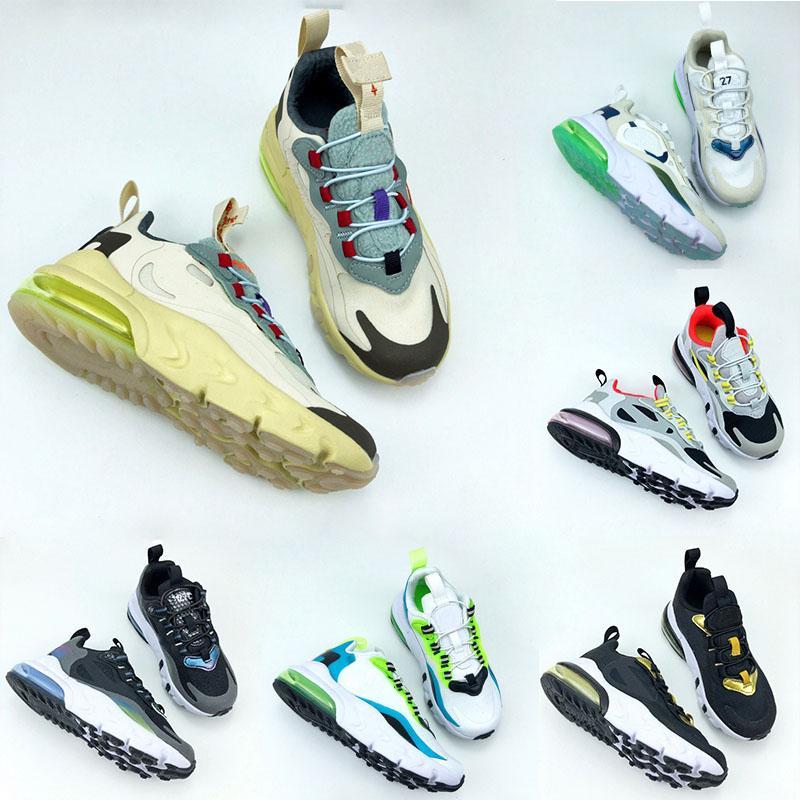 Infantil 270 Scotts Reacciona Cactus Running Shoes Boysgirls Photon Polvo Niños Amarillo Pink Black Sneaker Kid Deportes Entrenadores