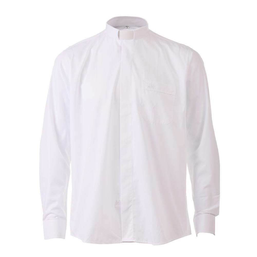 Pastor Clergy Shirts Priest Costume Tab Collar White Black Minister Preacher Short Sleeve Tops Church Uniform