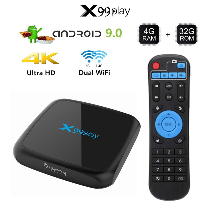 X99 Play Double Wifi Set Top Box Player Android 9.0 2.4G/5G WIFI 4K Set Top Box Mini SD Storage Card Mobile Hard Disk Extension