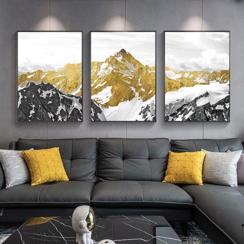 Pinturas Modern Gold Snow Mountain Paisagem Poster Canvas Pintura Arte Da Parede Impressão Fotos Sala de estar sobre o sofá Interior Home Decor
