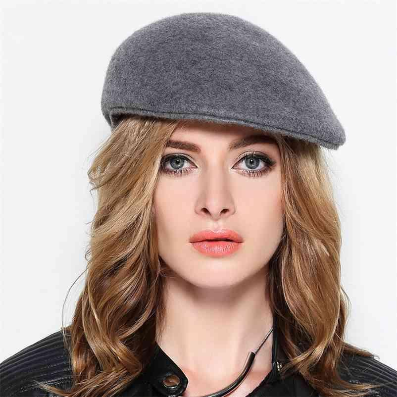 Yetişkin Kış Şapkalar Keçe Erkekler Rahat Sboy Cap Kadınlar 100% Yün Bere 10 Renkler 210429