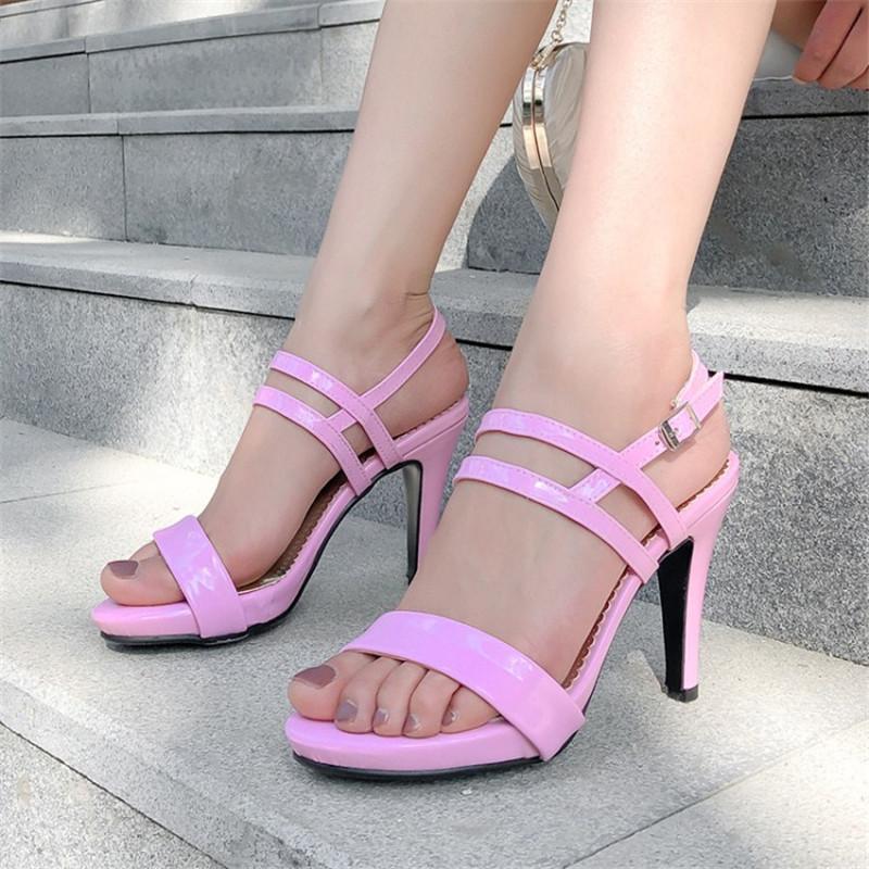Chaussures Femmes Sandales Sandales Pattent En Cuir mince Stiletto Haute Talons High Talons Bande Back Back Bureau Carrière Career Career Lady Plus Taille 34-43