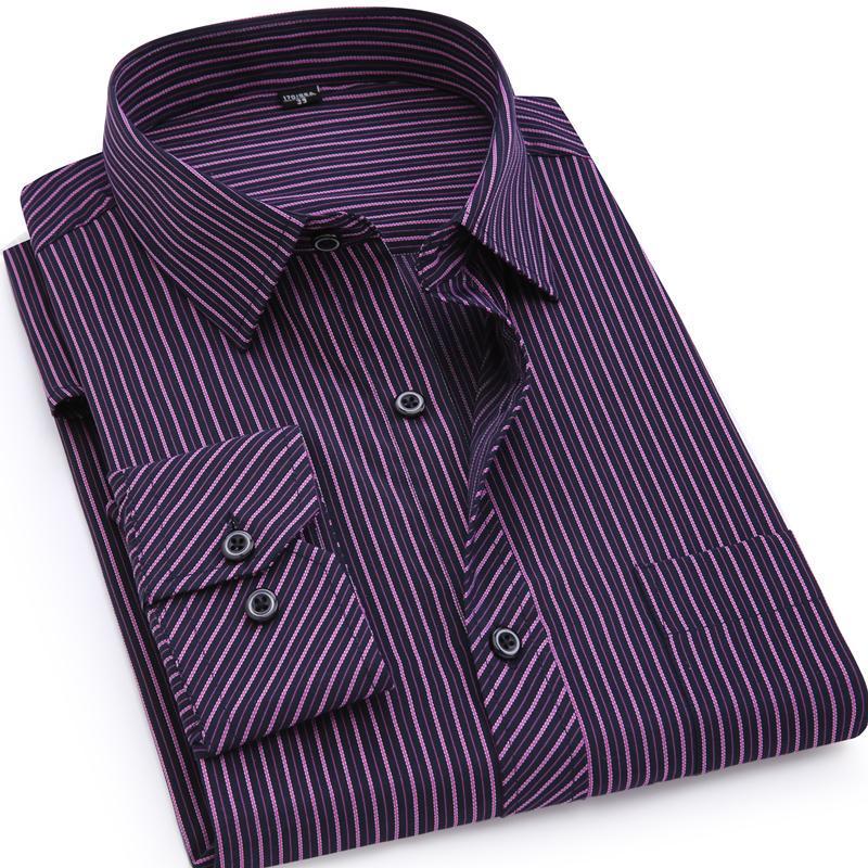 망 비즈니스 캐주얼 긴 소매 셔츠 클래식 스트라이프 남성 사회 복장 셔츠 보라색 블루 플러스 큰 크기 9xl 7xl 4XL 남자