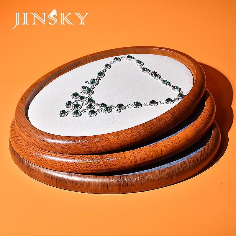 عرض المجوهرات صينية الخشب القرط الدائري سوار لوحة تخزين منظم بوغرام الدعامة الحقائب، الحقائب