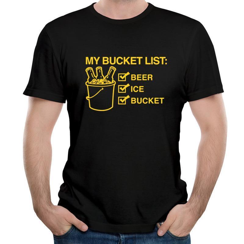 양동이 목록 맥주 알코올 냉소 퇴직 은퇴 한 재미있는 유머 귀여운 대형 티즈 남자 인쇄 탑스 멋진 유행 남자 티셔츠