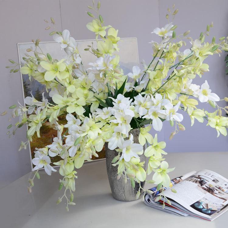 10 قطع الزهور الاصطناعية الأوركيد فرع الزفاف باقة الطريق الرصاص الزهور وهمية غرفة المعيشة المنزل الديكور التصوير الدعائم