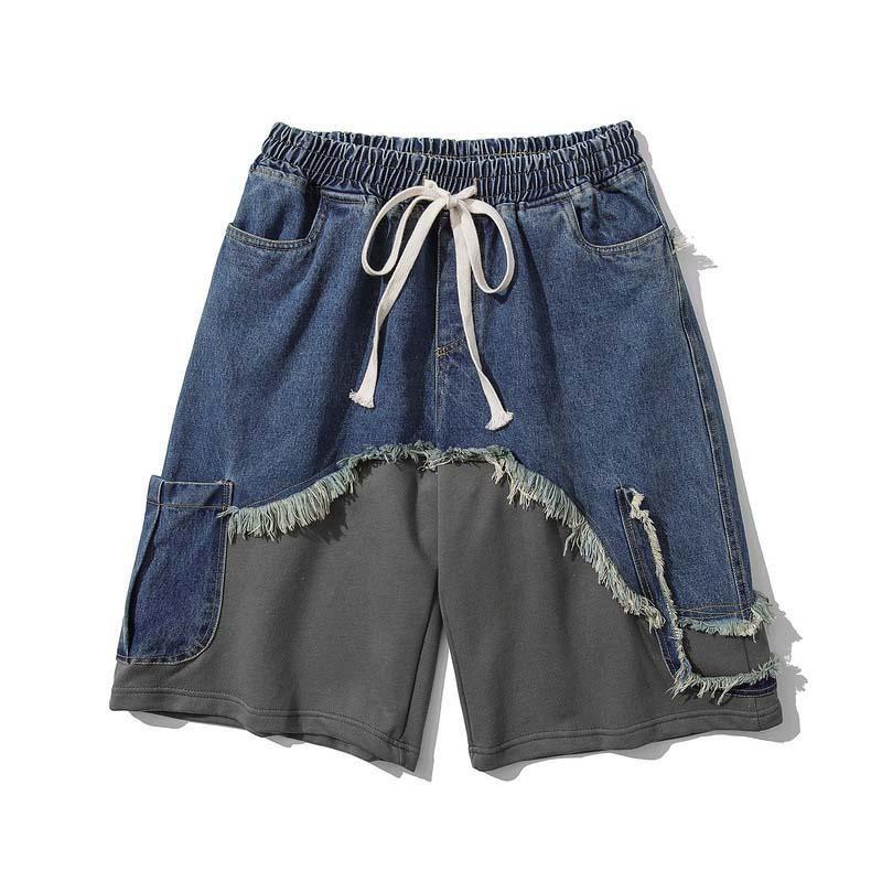 Hombres Summer High Street Denim Shorts Patchwork Vintage Vintage Jeans para hombres lavados masculinos