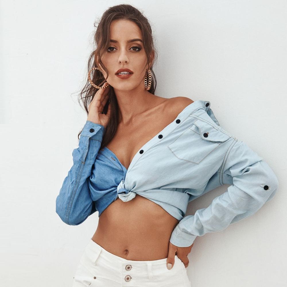 Camisa Denim Mulheres Nova Streetwear azul Único camisa de retalhos breasted com bolsos duplos manga longa tops elegante camisas 210420