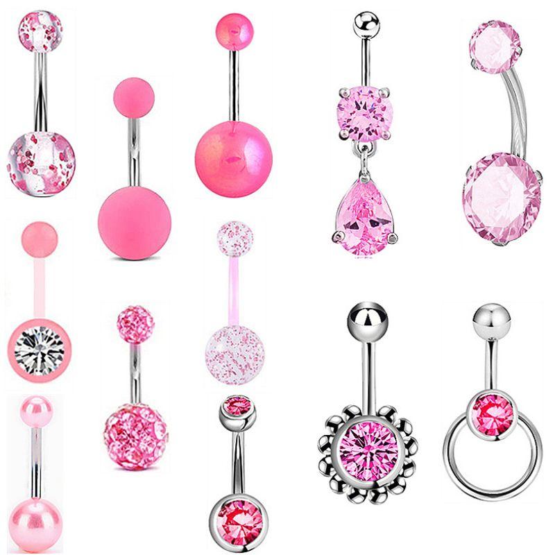 12 em 1 Body Arts Zirconic Button Button Rings Kit Acrílico Umbigo Anel com gema para homens e mulheres