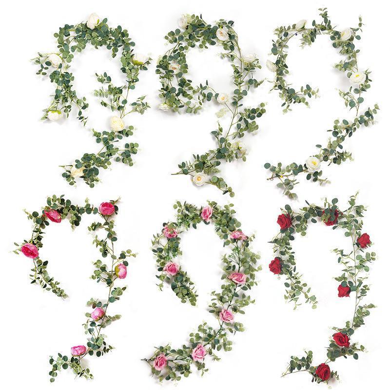 Yapay Yeşil Bitkiler Asılı Ivy Yaprakları Turp Yosun Üzüm Sahte Çiçekler Vine Ev Bahçe Duvar Parti Dekorasyon Dekoratif Çelenkler