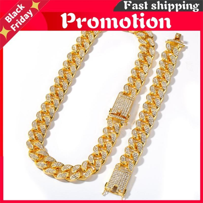 Chains 20mm Heavy Miami Cuban Link Chain Necklace & Bracelet Set Full Iced Out Rhinestones Bling Hiphop Jewelry For Men