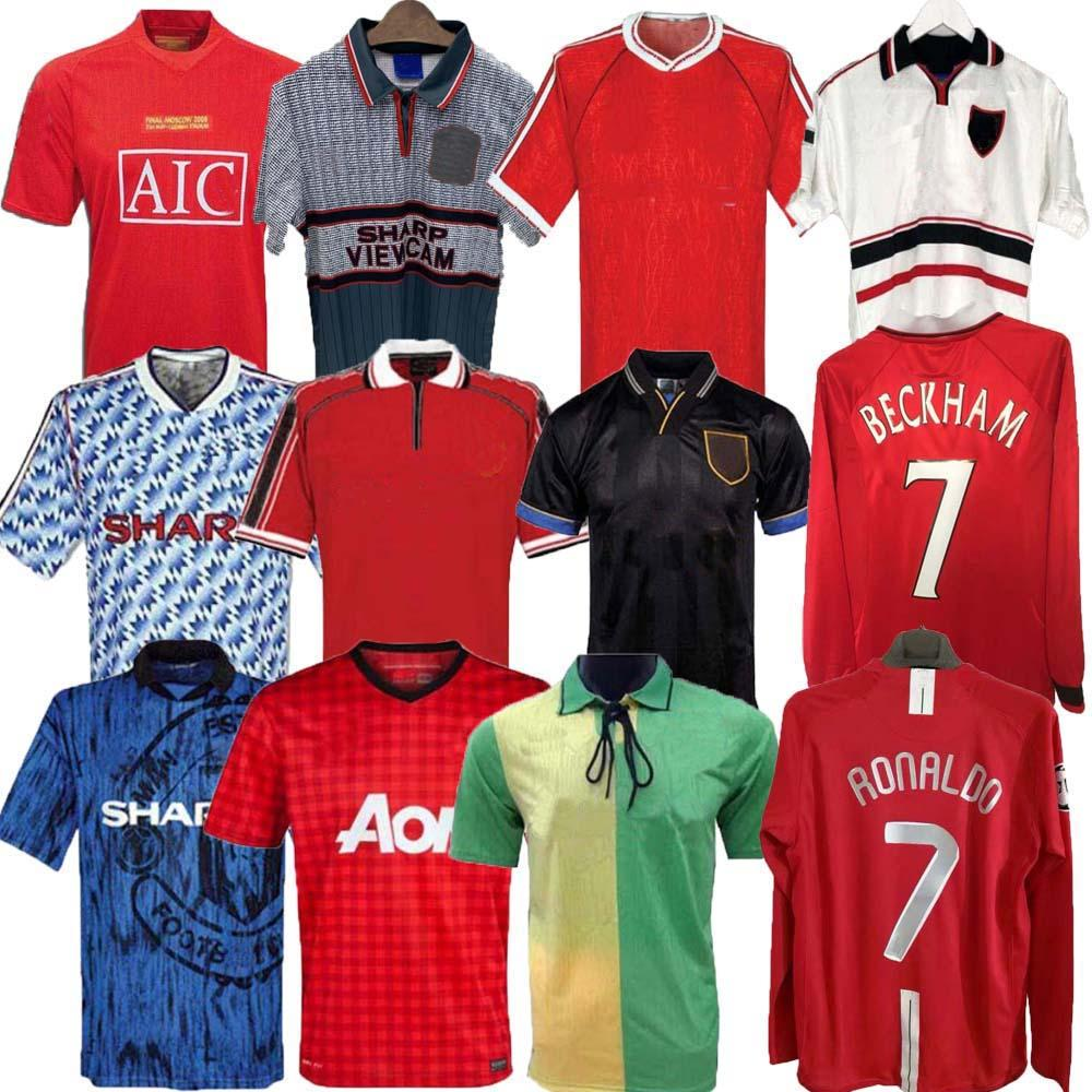 Hombre 07 08 90 92 98 99 United Retro Final Final Casa Manchester Jersey 1994 1994 United Ronaldo Beckham Cantona Keane Scholes Giggs Jersey