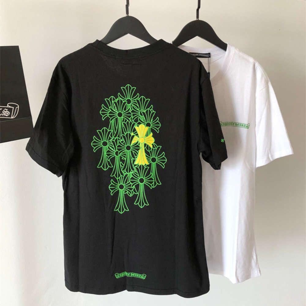 Crosina de verano Blanco y negro Manga corta Cuello de la tripulación Camiseta Pareja de la marca Style Style