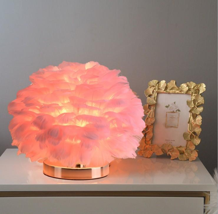 Nature White Pink Feather lamps Table Light Remote Control Dimming Bedroom Bedside for Study Wedding LED Decorative Lighting