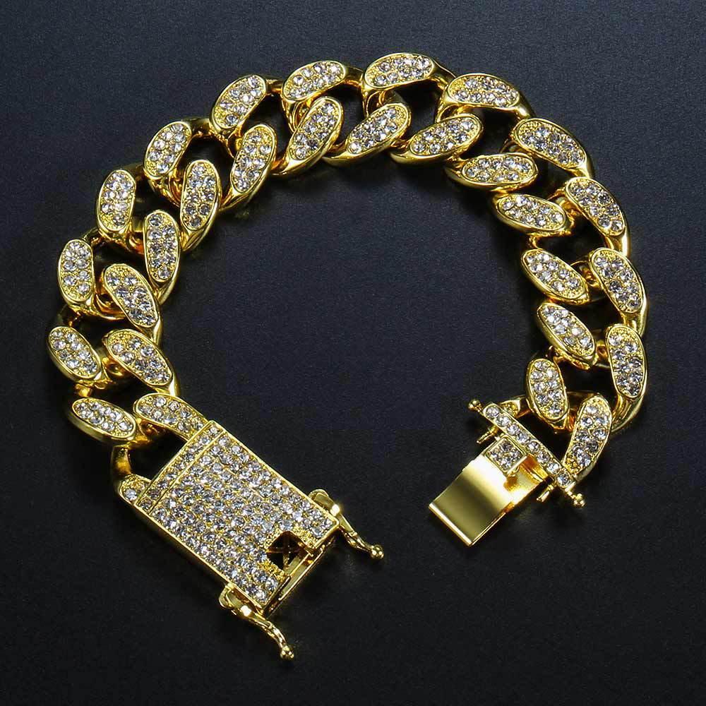 Bracciale da uomo Hip Hop Butterfly Fibbia da uomo Tennis placcato oro diamante pieno cristallo da Swarovskis rhinestone cubano boy regalo gioielli