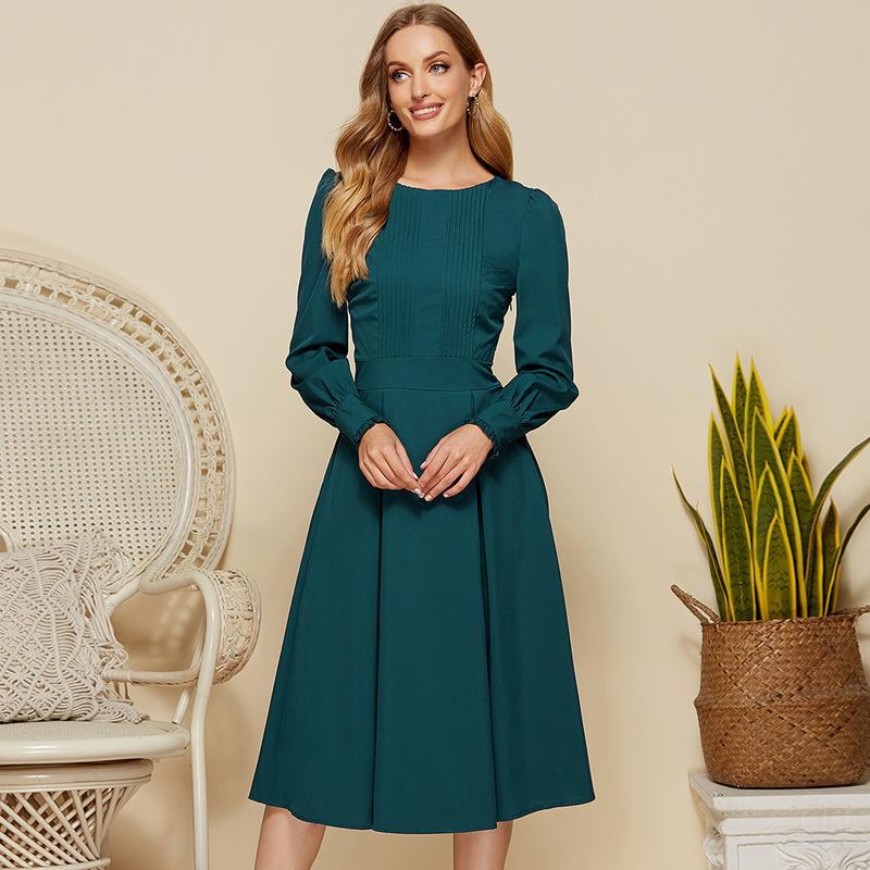 Kleider Frauen Hepburn Elegantes Laterne Ärmelkleid im Frühling und Sommer von
