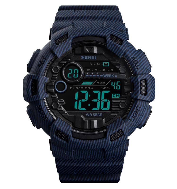 SKMEI Fashion Sport Watch Alarm Clock Cowboy Waterproof Week Display Men Watches Denim Digital relogio masculino 1472