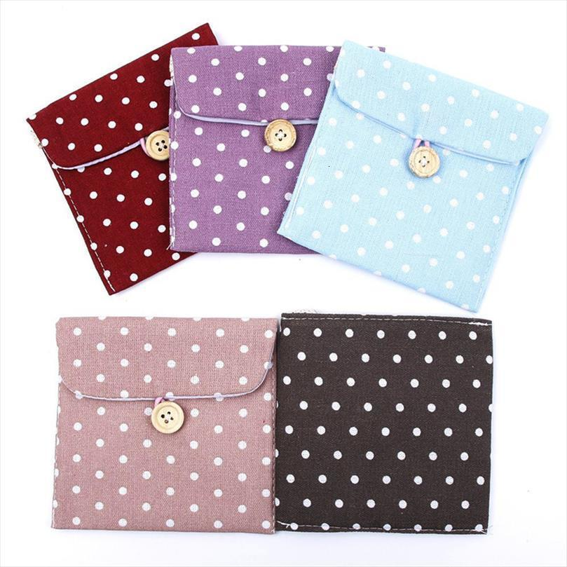 1pc Women Portable Hygiene Cosmetic Bags Sanitary Napkins Travel Accessories Tampon Lovely Polka Dot Storage Organizer