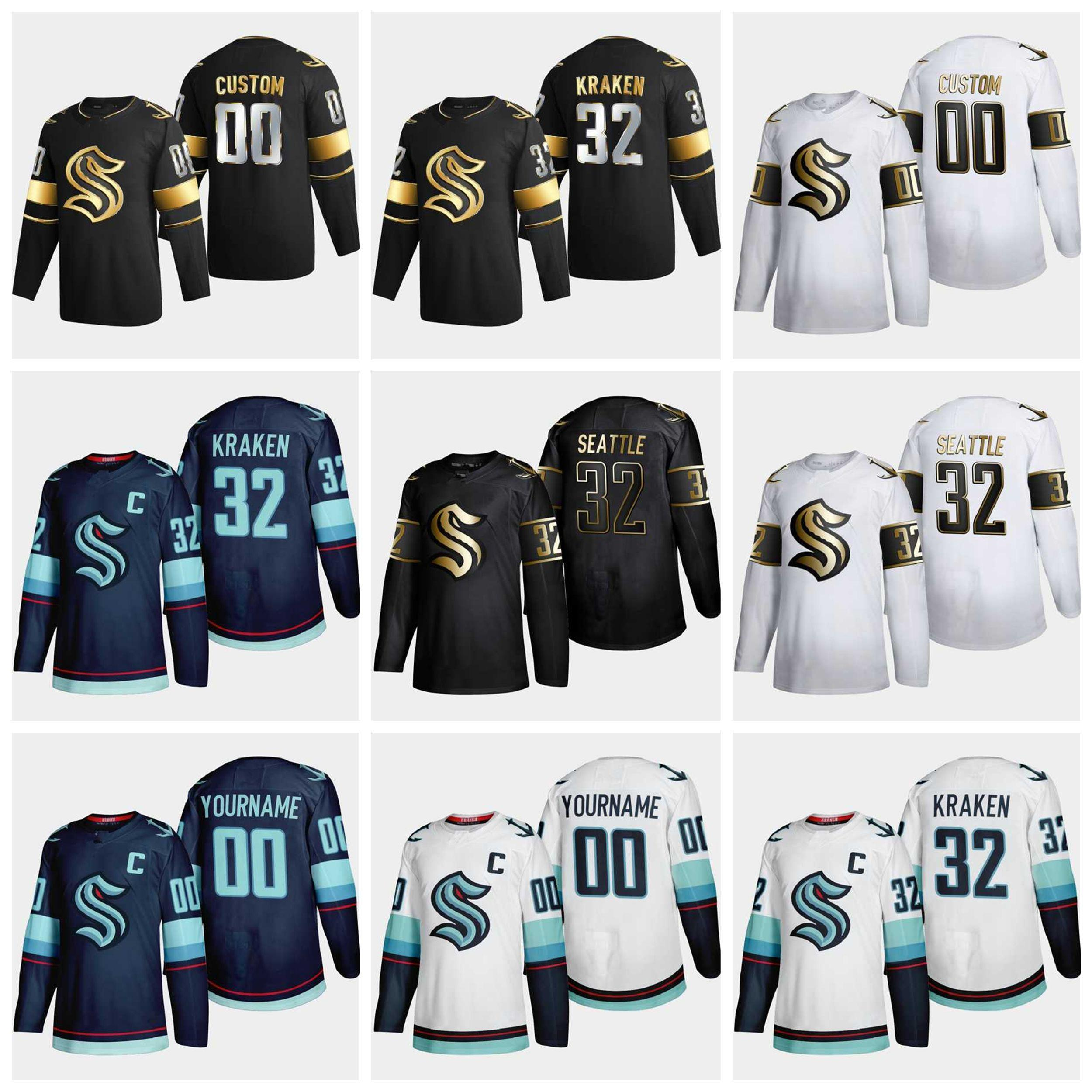 Seattle Kraken Ice Hockey Jerseys 2021 Season Black Golden Edition Mens Womens Youth Kids Custom Stitched