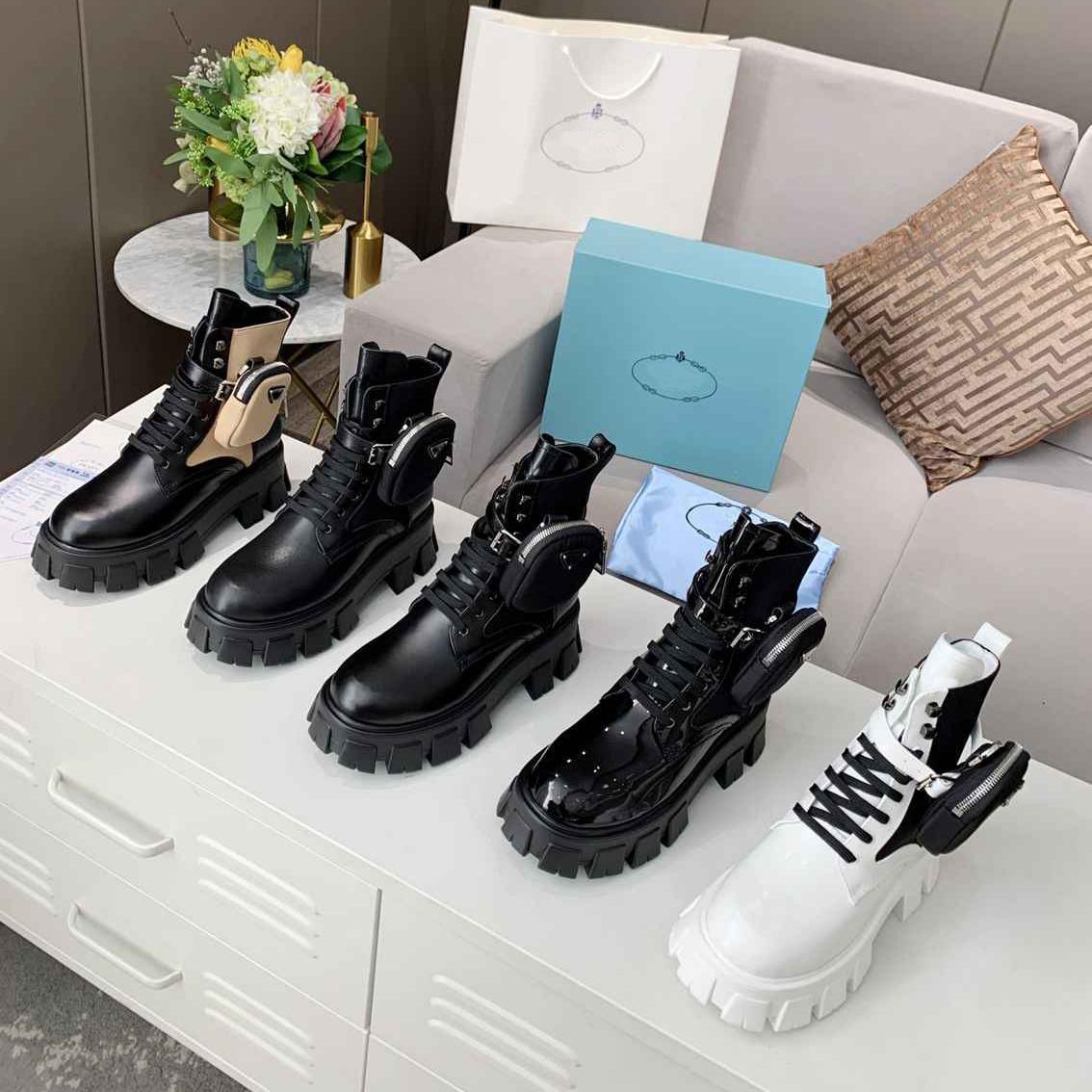 Alta qualità inverno womens stivali in vitello pelle di vitello Martin scarpa rimovibile in nylon custodia da combattimento scarpe da combattimento da donna all'outdoor sfondo spessore a metà lunghezza 35-45