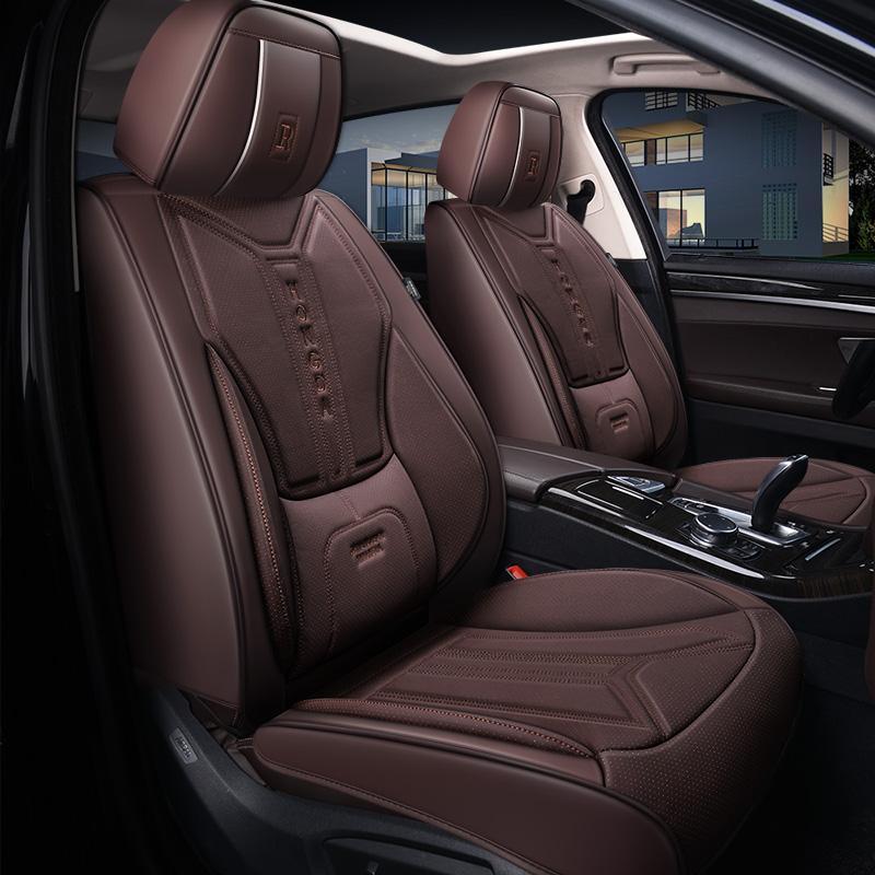Araba aksesuarı koltuk örtüsü sedan SUV dayanıklı yüksek kaliteli deri evrensel beş koltuklar ön ve arka kapakları dahil olmak üzere Set yastık tam kaplı gri tasarım AA6