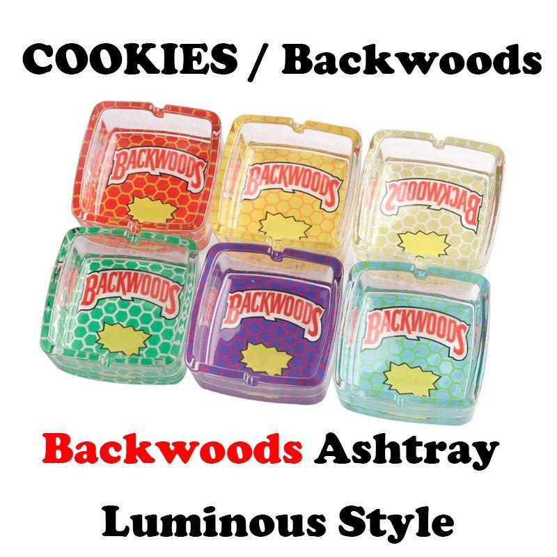 Çerezler Runtz Backwoods Ashtray Aydınlık Kare Şeffaf Cam Kavanoz Sigara Çöp Kutusu Tobacco Sigara Kuru Herb Aksesuarları