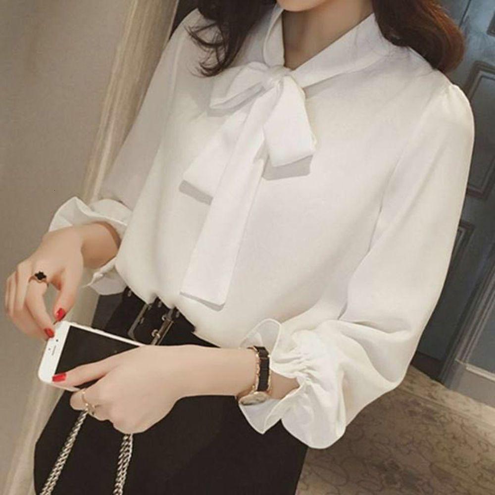 shirt2021 new spring dress Korean large size bow princess sleeve versatile Chiffon Top lace up female