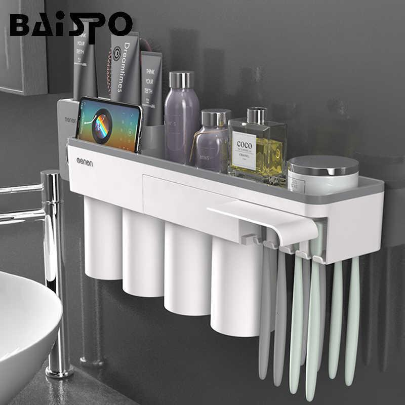Baispo Titular de escova de dentes de adsorção magnética com 4 xícaras de parede montada casa de banho de armazenamento caso acessórios de banheiro SH190919