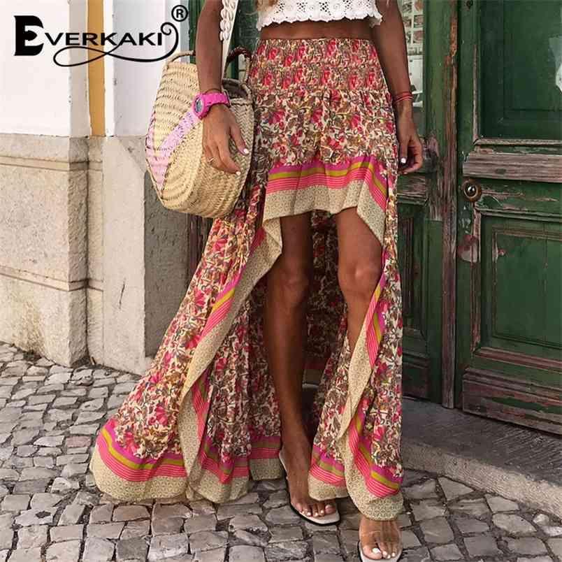 Everkaki Boho Print Long Skirts Women Bottoms Elastic Waist Gypsy Ethnic Ladies Skirt Female Spring Summer New Fashion 210408