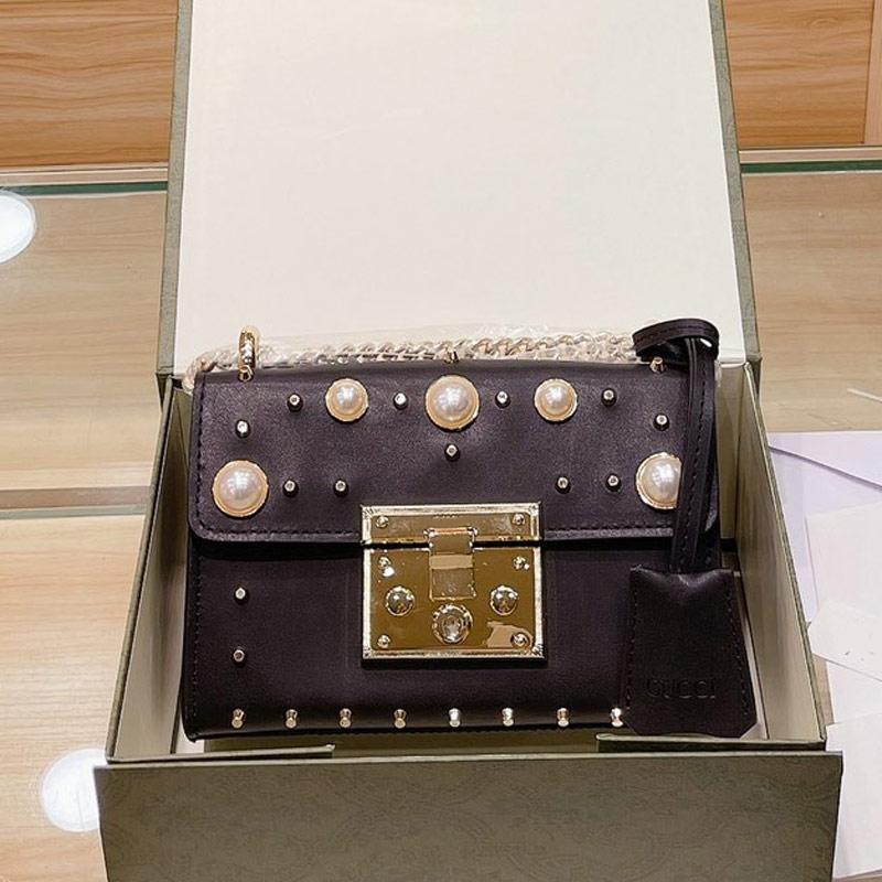 Retro Messenger Bag Women Rivet Handbags Purse Padlock Crossody Bags Pearls Nails Decor Genuine Leather Fashion Letter Gold Hardware Handbag