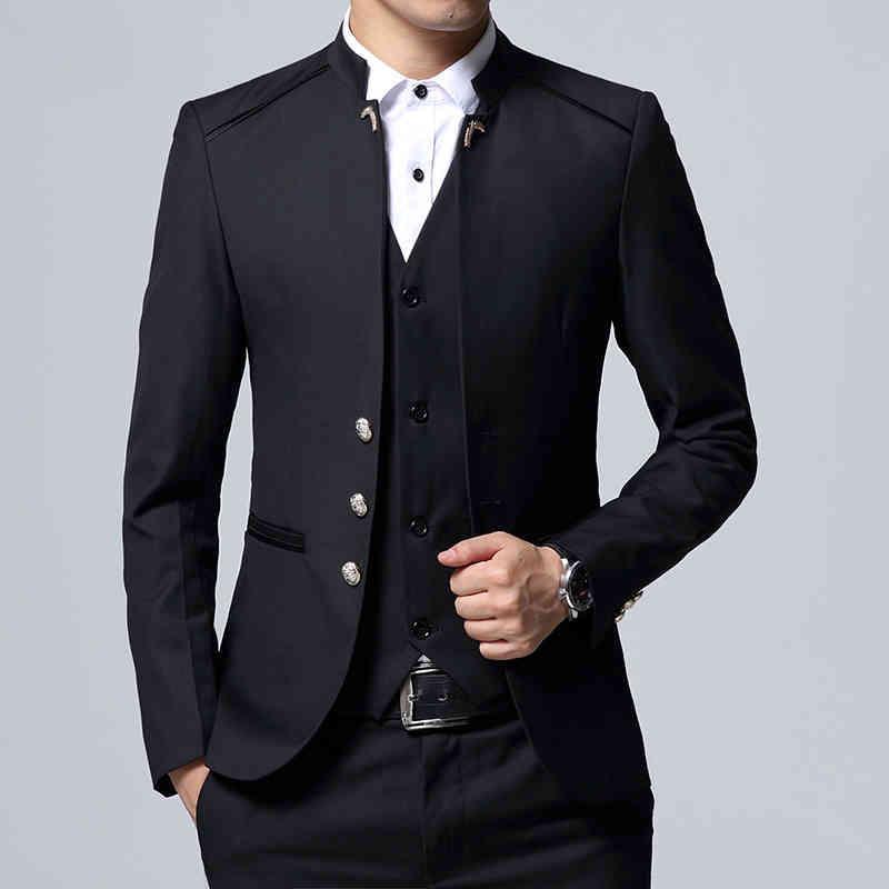 Anzüge Tunika Formale Business Men Stehkragen Für Hochzeit Mode Stil 3 Stück Bräutigam Tuxedos Mann Set Jacke Weste mit Hosen