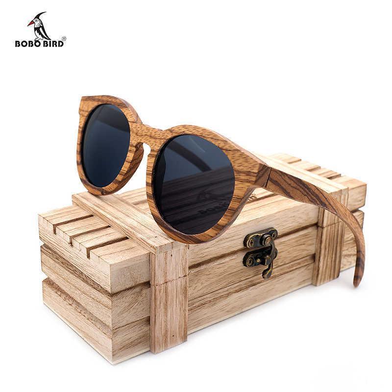 Holz Sonnenbrille Männer Frauen Bobo Vogel Polarisierte Vintage UV-Schutz Brillen Damen Bambus Sonnenbrille 210603