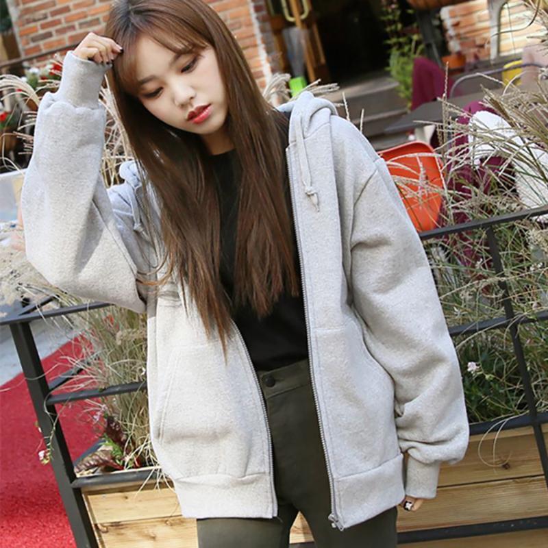 Women's Hoodies & Sweatshirts Spring Fashion Hooded Outwear Women Casual Tie Collar Long Sleeve Zip-up Loose Ladies Streetwear Tops Winter