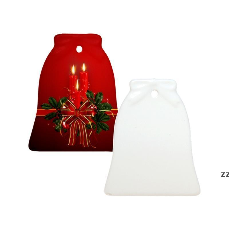 New Fashion Sublimation Blank Ceramic Pendant Creative Christmas Ornaments Heat Transfer Printing DIY Ceramic Ornament 6 Styles HWE9705