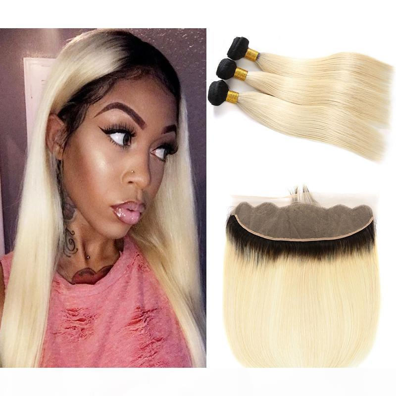 Brasileiro 1B 613 Ombre loira 3 pacotes com orelha de 13x4 para orelha lace frontal cabelo humano tecidos pretas raiz loira extensões de cabelo loira