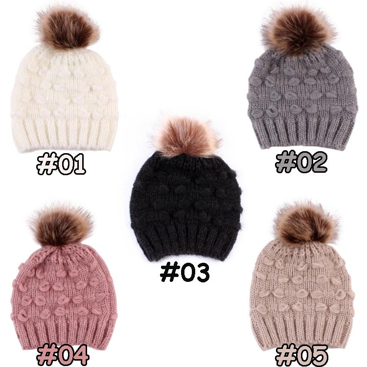 Nette Kleinkind Kinder Hüte 5 Farben Mädchen Junge Baby Winter Warme Häkeln Gestrickte Hut Beanie Pelzkappe Kinderkappe Winter Großhandel GWD10204