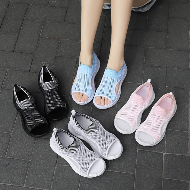 Sandales 2021 Mode Femme Plateforme Femmes Sandalias Sandalias Été Cendres Femme Sneakers Peeep Toe Chaussures