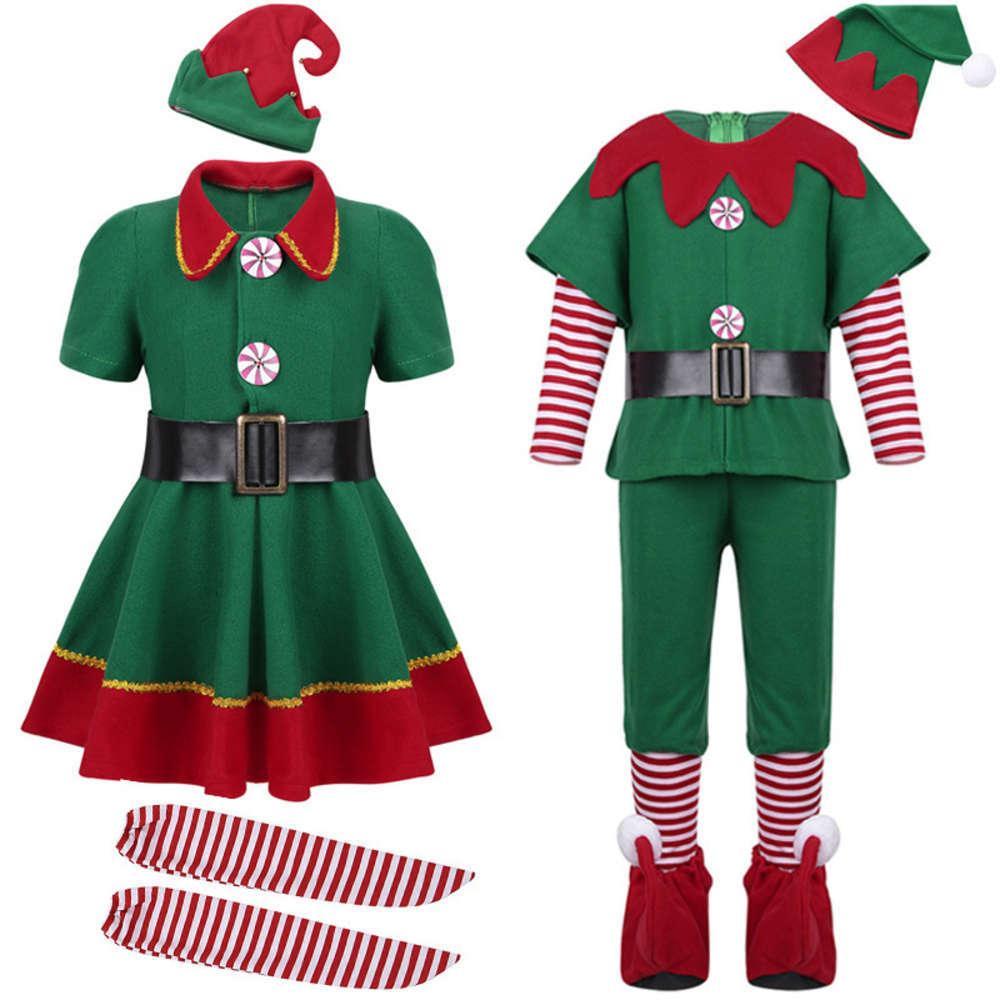 Повседневные платья детский и женский Хэллоуин взрослый Рождество е, зеленый костюм, косплей