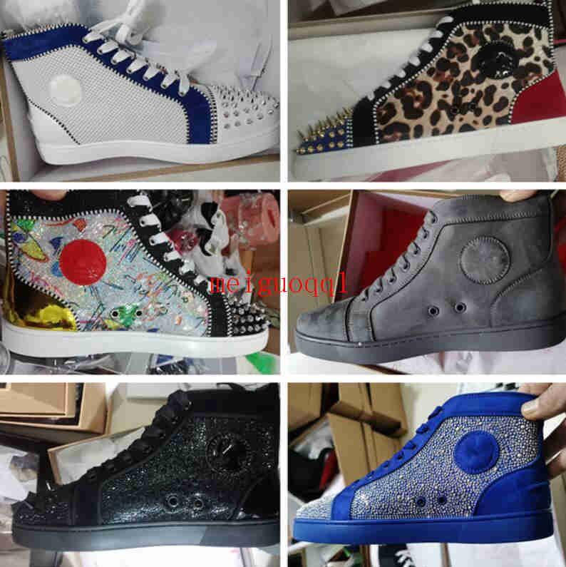 2021 أحذية فاخرة عالية أعلى سبايك أحذية رياضية جلد أحمر أحذية أحذية رياضية أحذية الأزياء عارضة رباط الحذاء إطار USA 13